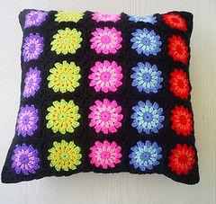 granny square cushion cover (riavandermeulen) Tags: black circle square colorful crochet granny
