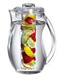 Jumbl Tea Infuser Water Pitcher. Plastic Pitchers with spill proof Lid & Removable Infusion Insert For Kool Aid, Juice, Iced Tea, Lemon Water, Crystal Clear Shatterproof Acrylic, 2 Quart
