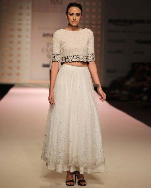 White Bubble Crop Top - Kavita Bhartia - Amazon India Fashion Week SS '16 - Off The Runway