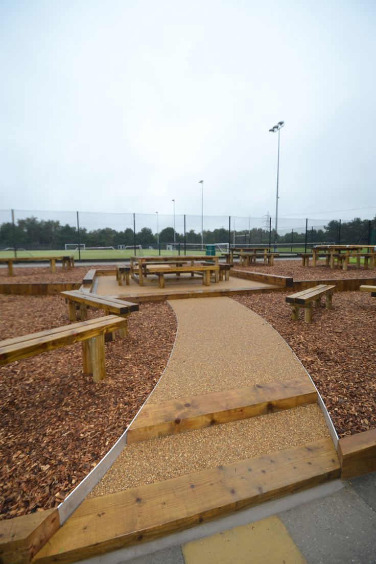 Resin bound gravel seating area at a high school in Macclesfield, Cheshire.