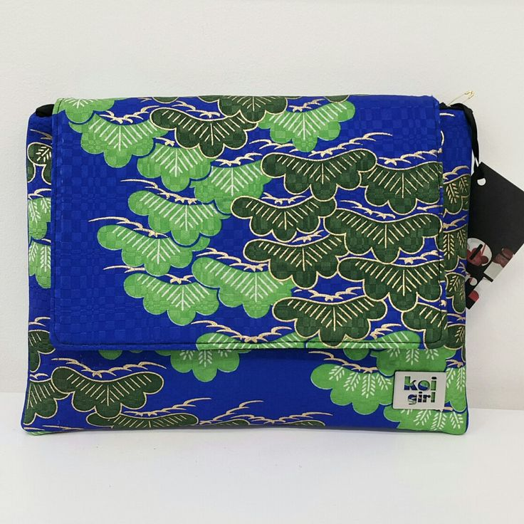 Koi Girl Vintage japanese fabrics electric blue and green clutch