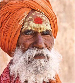 Sandalwood: A sadhu in Jaipur, Rajasthan, wears the holy sandalwood paste on his forehead.