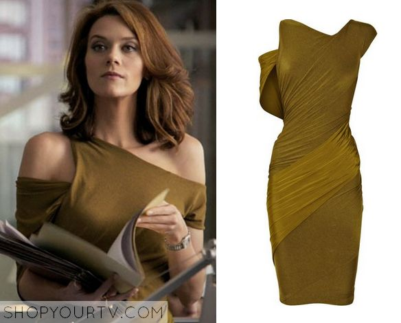 White Collar: Season 2 Episode 16 Sara's Olive Asymmetric Dress - ShopYourTv