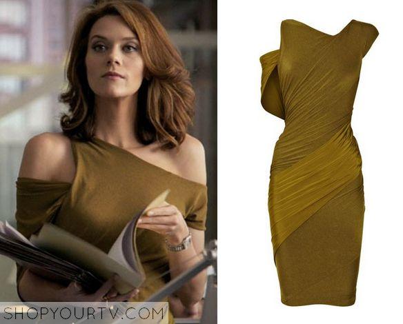 White Collar: Season 2 Episode 16 Sara's Olive Asymmetric Dress - ShopYourTv