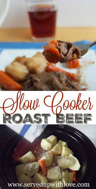 Slow Cooker Roast Beef recipe from Served Up With Love. Tender beef roast packed with a ton of flavor.