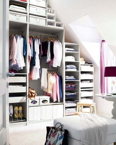 Love this closet :: so organized! Idea of what adding to the closet size with attic could look like.