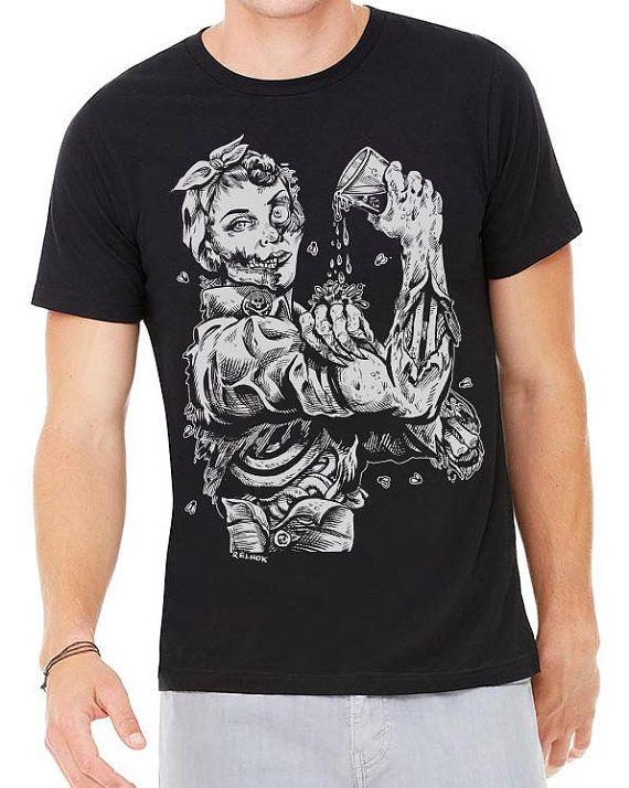 Zombie Rosie Riveter Craft Beer T-Shirt - Halloween, Day of the Dead