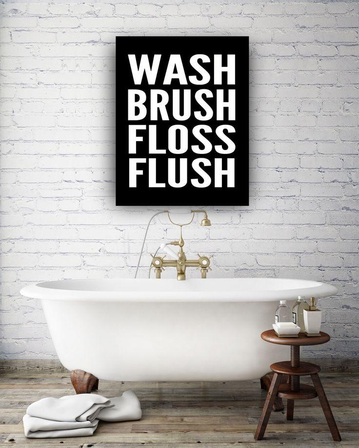 Wash Brush Floss Flush Canvas Batrhoom Decor, Bathroom Canvas Art, Kids Bathroom Art, Bathroom Decor- Minimalist Bathroom - Home Decor by IndigoRain on Etsy https://www.etsy.com/listing/217885686/wash-brush-floss-flush-canvas-batrhoom