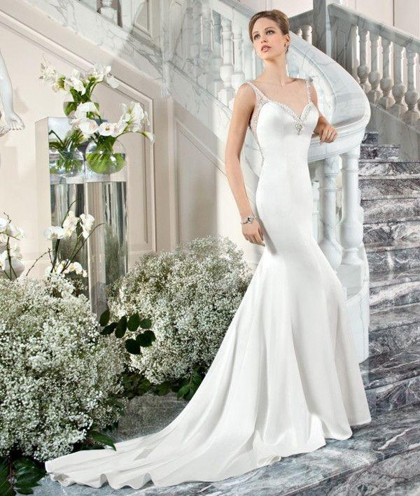 White silky wedding dress | Demetrios Couture 2015 Bridal Collection via @WorldofBridal