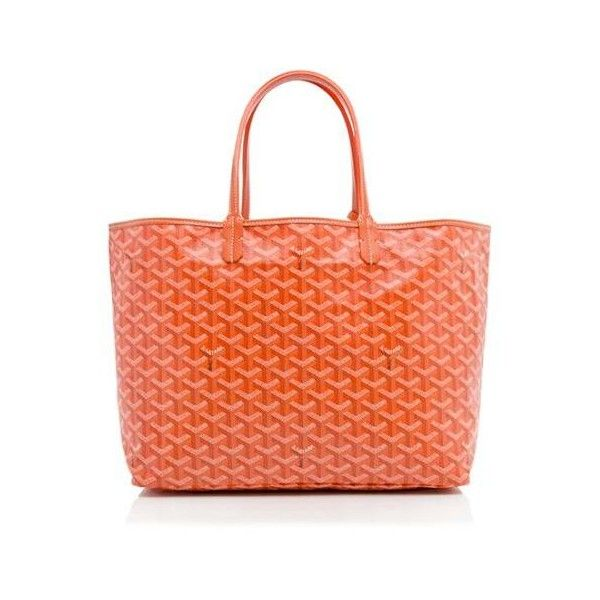 Rental Goyard St. Louis PM Tote ($175) ❤ liked on Polyvore featuring bags, handbags, tote bags, orange, orange tote, goyard tote, orange handbags, red canvas tote bag and canvas tote bags