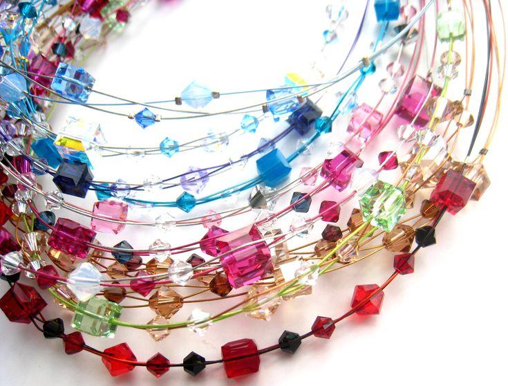 Návody na korálky - náhrdelník kostičky Swarovski