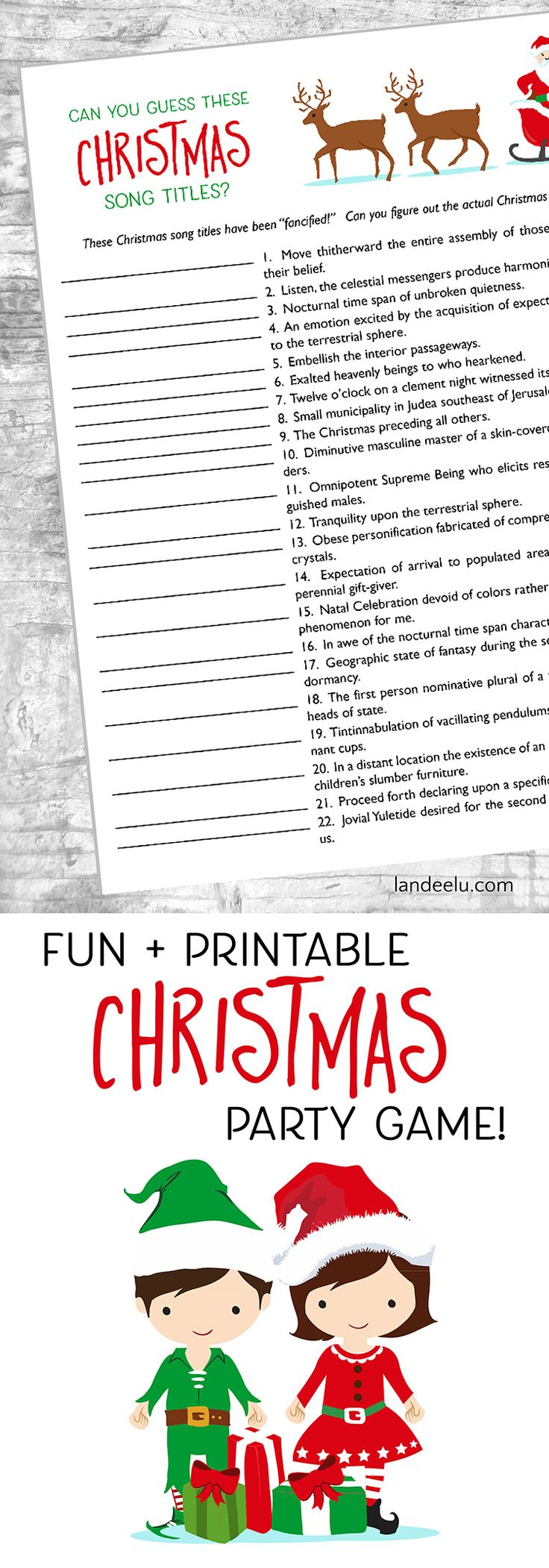 Looking for fun Christmas games to play this holiday season? Download and print this awesome Christmas Song Titles game that everyone will love!