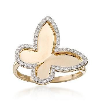 Ross simons 20 ct t w diamond butterfly ring in 14kt for Ross simons jewelry store