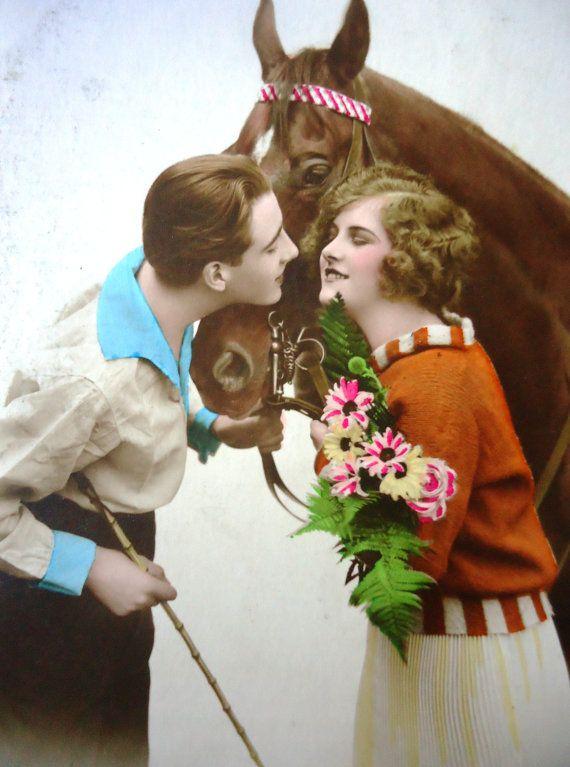 Antique french postcard  Romantic couple horse by LizKnijnenburg, €3.75
