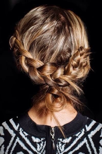 Loosely-tied braids.