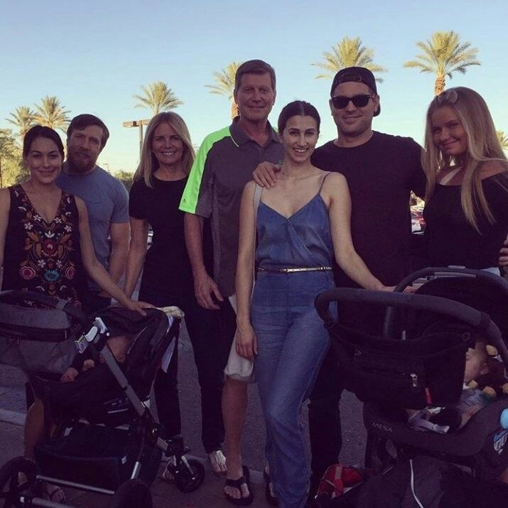 Kathy Colace, John Laurinaitis, His Daughter, JJ, Lola Garcia, There Daughter, Daniel Bryan, Brie Bella and There Daughter