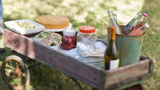 Meals on Wheels: Picnic Menu  Roast beef wraps, stuffed eggs, barley-asparagus salad and cornmeal cake pull together a perfectly portable picnic menu.