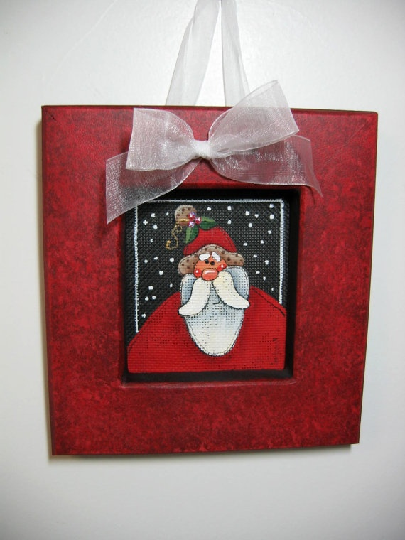 Small Folk Art Santa Claus Tole Painted and by barbsheartstrokes, $13.00
