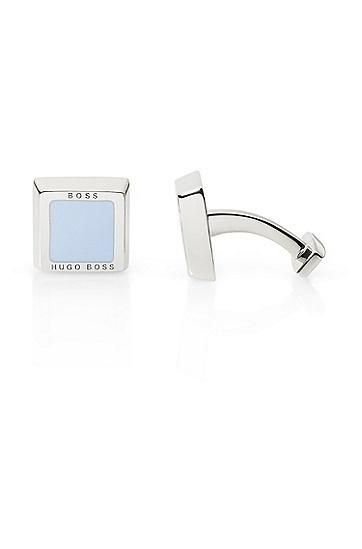 BOSS by Hugo Boss - 'Franzisko' | Squared Cuff Links - These sleek square cuff links by BOSS feature an enamel inset and are finished with a subtle, engraved logo detail. Brass with enamel... More Details