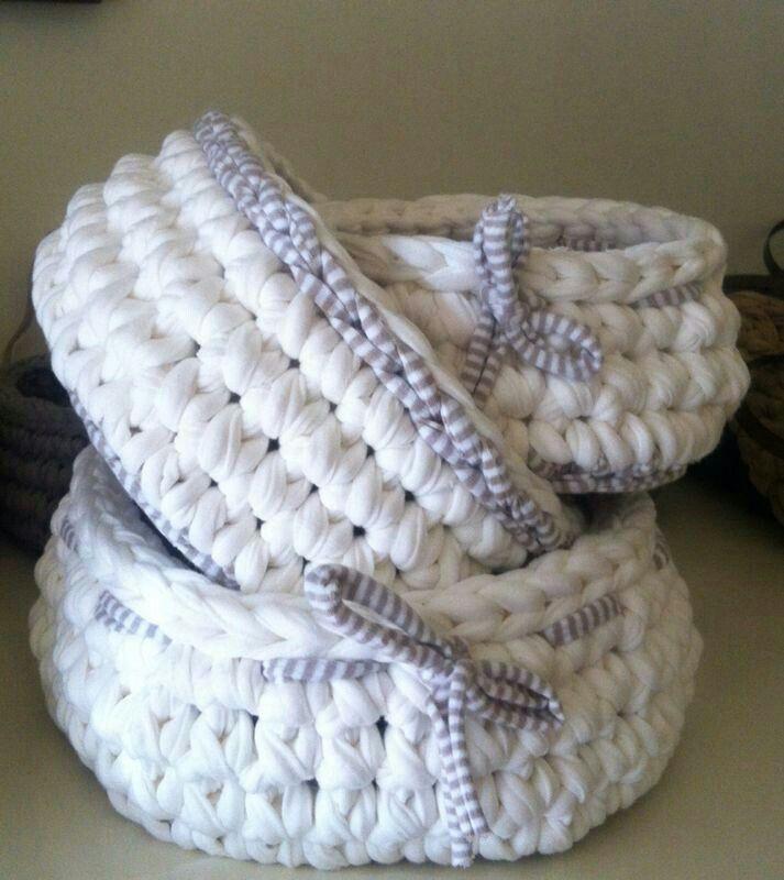 267 mejores im genes sobre cestas crochet en pinterest - Cesta de cuerda y ganchillo ...