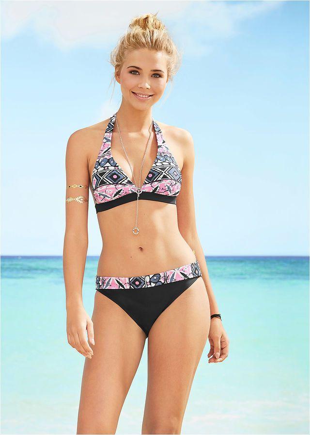 0b53a6d5e8 Nyakpántos bikini • fekete/rózsaszín mintás • bonprix áruház | divat ...