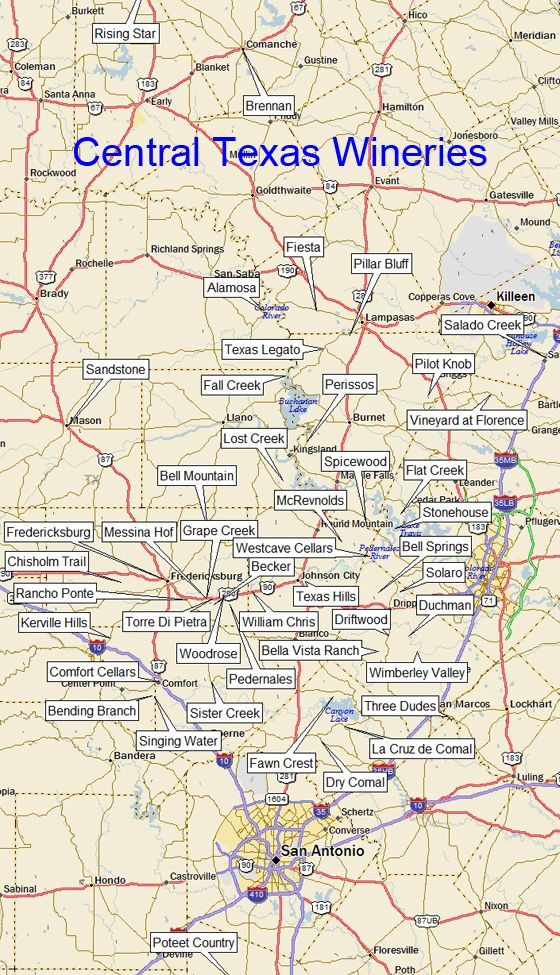 Texas Vineyards ~ great map of the vineyard throughout Central Texas. #TxWine #WineTasting #FbgTx
