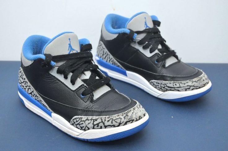2014 Air Jordan III 3 Black Cement/Sport Blue Retro PS Size 2y 429487-007 #Jordan #Athletic