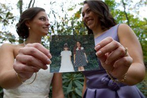 love this idea ....photo with maid of honor / bridesmaids with oldest/cutest photo of the two. @Kelsey Myers Myers Brannon we HAVE to do this!!