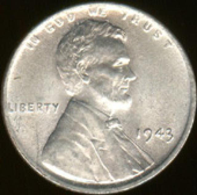 How Much is the 1943 Chrome-Plated Penny Worth?: This is an image of the normal 1943 steel penny (obverse).