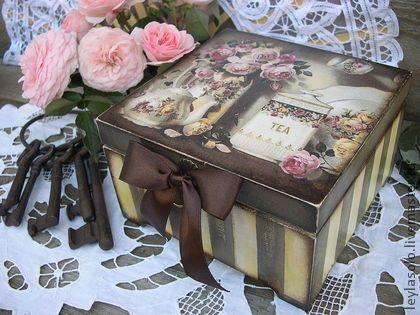 Чайная коробка Английские розы - коричневый,для чайных пакетиков,короб