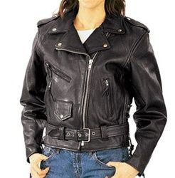 Womens leather motorcycle jacket - classic biker style! Only $119.99