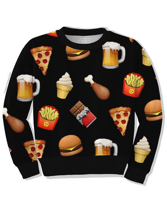 Junkfood Sweatshirt - Crewneck - Dye Sublimation - Unisex ($62) http://www.mtv.com/news/2008278/emoji-shoes-quiz/