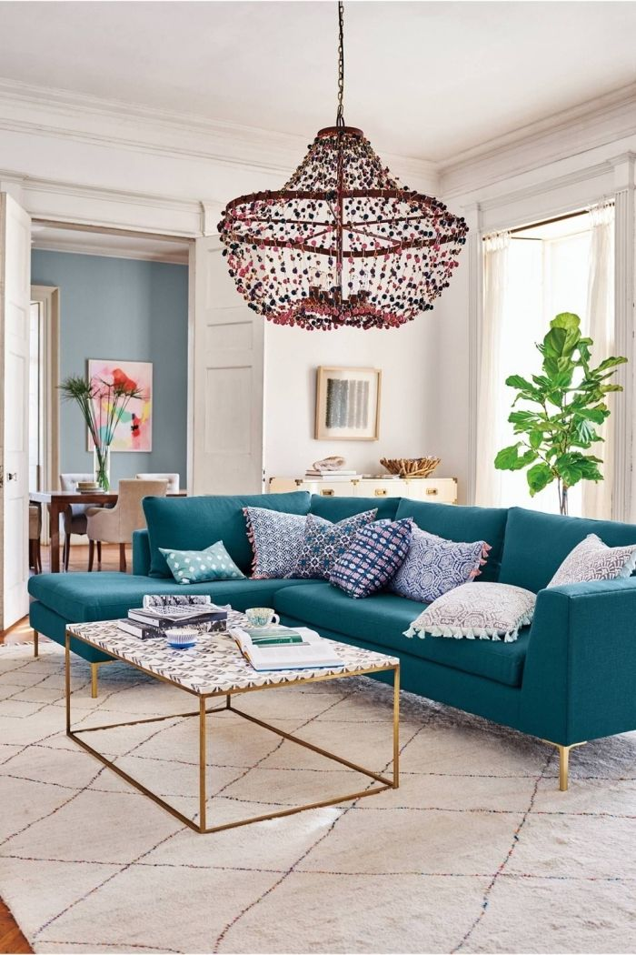 Comment Adopter La Deco Bleu Canard Dans Un Salon, Canapé Du0027angle Couleur  Bleu