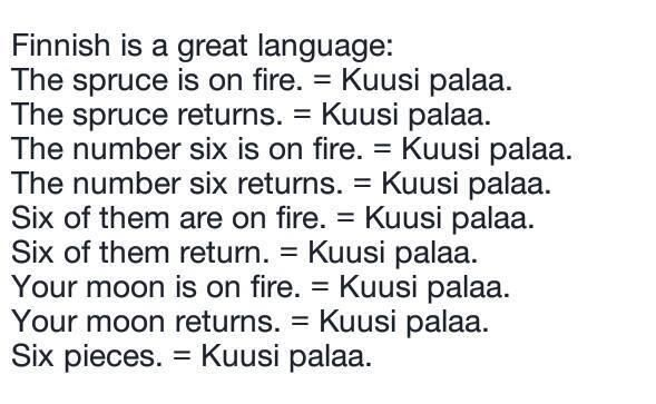 Finnish is a great language! This pin demonstrates that a two word sentence can have multiple meaning depending on context but a few of these would be rarely, if ever.
