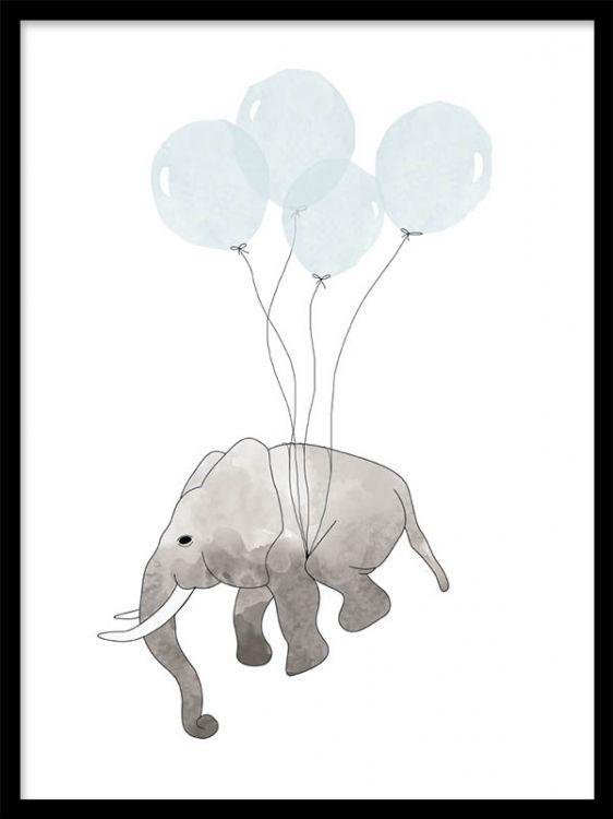 Fin poster till barnrummet med elefant