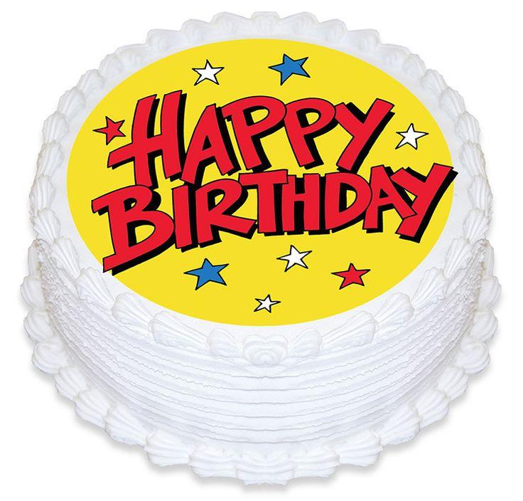Happy Birthday Stars Edible Cake Image