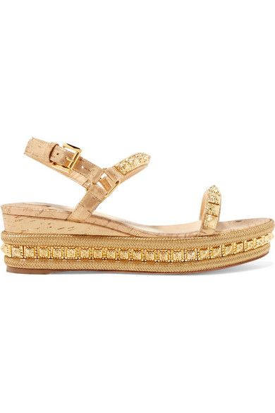 2eef373840 Christian Louboutin - Pyradiams 60 Spiked Lamé Wedge Sandals - Gold ...