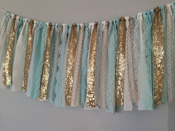 tiffany blue aqua u0026 gold sequin fabric garland by ohmycharley