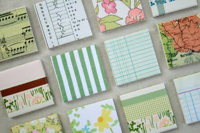 DIY magnets made from bathroom tile and washi tape! Amazing idea!