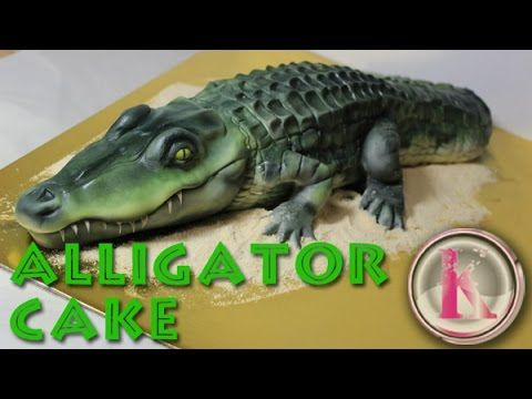 Kricky cakes and airbrush cake decorating: realistic alligator cake tutorial - YouTube