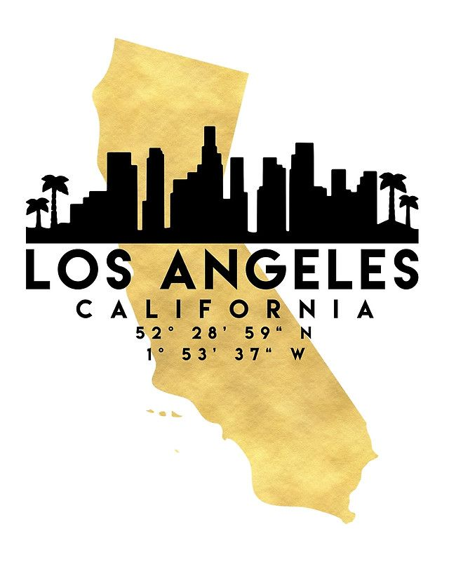 LOS ANGELES CALIFORNIA SILHOUETTE SKYLINE MAP ART -  The beautiful silhouette skyline of Los Angeles and the great map of California in gold, with the exact coordinates of Los Angeles make up this amazing art piece. A great gift for anybody that has love for this city.   los angeles california america downtown silhouette skyline map coordinates souvenir gold deificus art