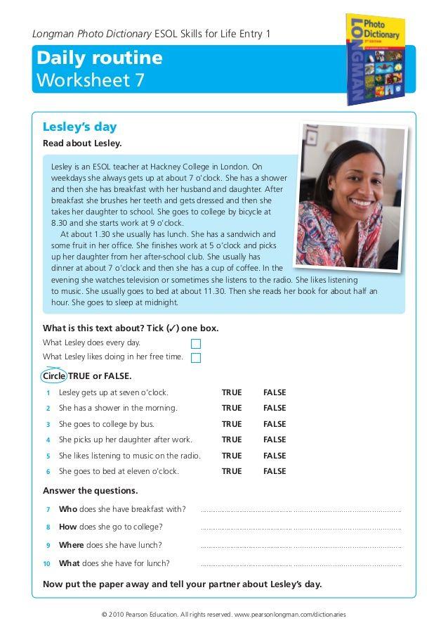 Worksheet About Daily Routine Esl Pinterest Routine