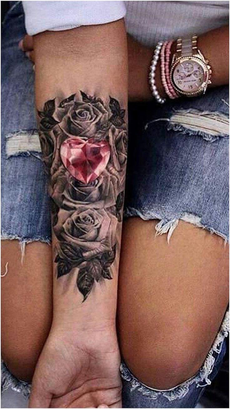 #WomensTattoo #WomensTattooIdeas Pink Crystal Heart Forearm Tattoo Ideas for Women – Black Flower Flower Rose Heart Wrist Arm Sleeve Actress