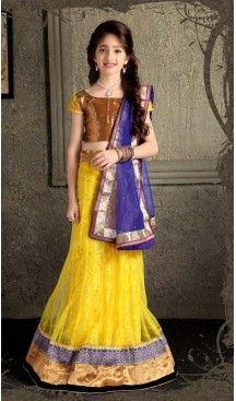 Yellow Color Lehenga Cholis For Girl's