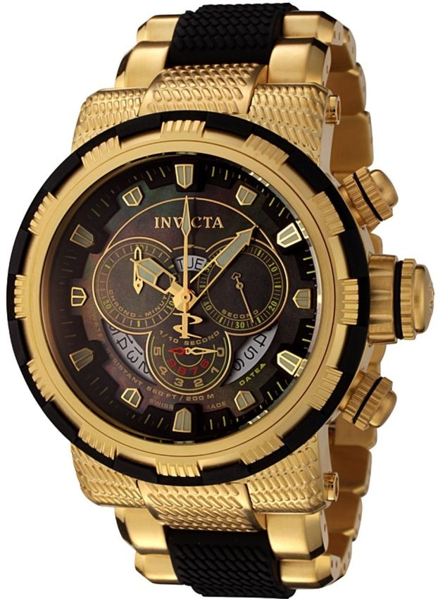 Invicta Mens 18k Gold-Plated and Black Watch | Raddest Men's Fashion Looks On The Internet: http://www.raddestlooks.org