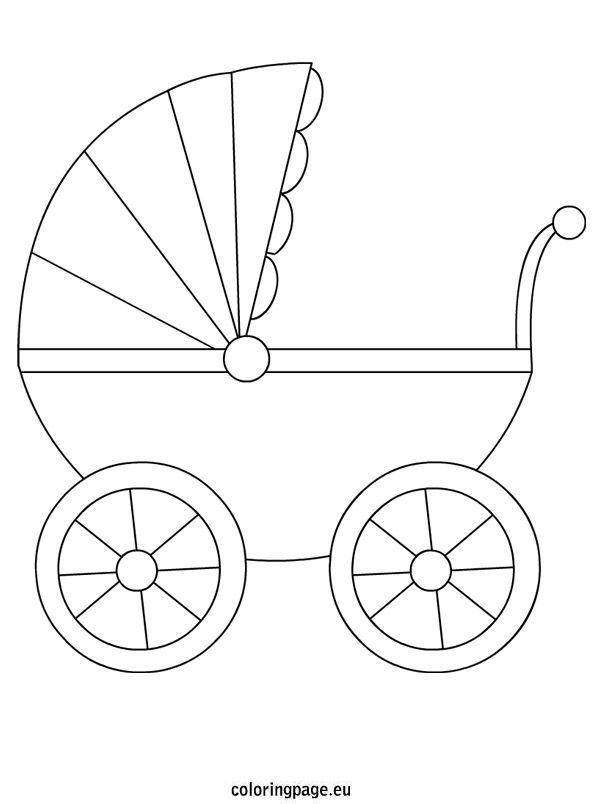 Baby Carriage Coloring Pages In 2020 Baby Shower Deco Baby