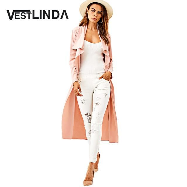 VESTLINDA British Style Trench Coat Women Turn-Down Collar Long Sleeve Belted Draped Desigual Coat 2017 Autumn Long Maxi Coats