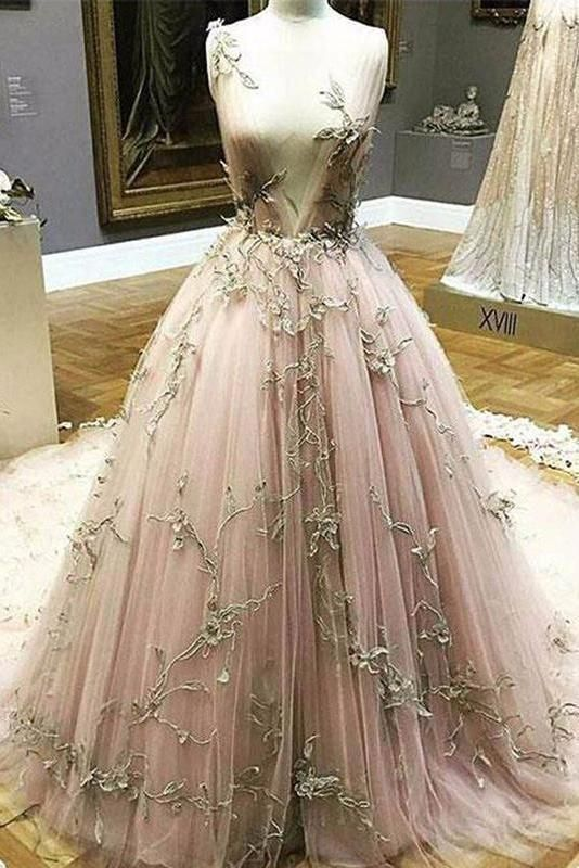 5c8c945f84 Chic A Line Lace Deep V Neck Appliques Long Prom Dress in 2019 ...