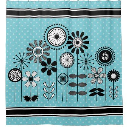 #Mid Century Modern Flower Print - Black White Blue Shower Curtain - #flower gifts floral flowers diy