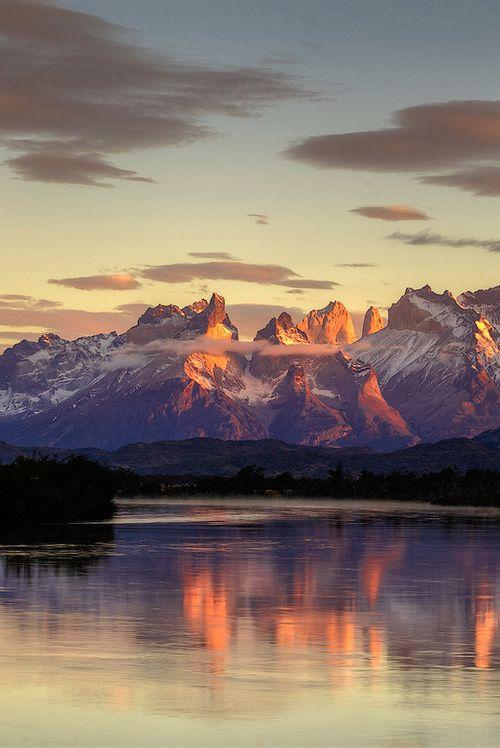 Sunrise at Rio Serrano in Torres del Paine National Park, Chilean Patagonia.